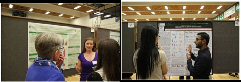 Chapter members explaining their posters to colleagues and Faculty may 2017